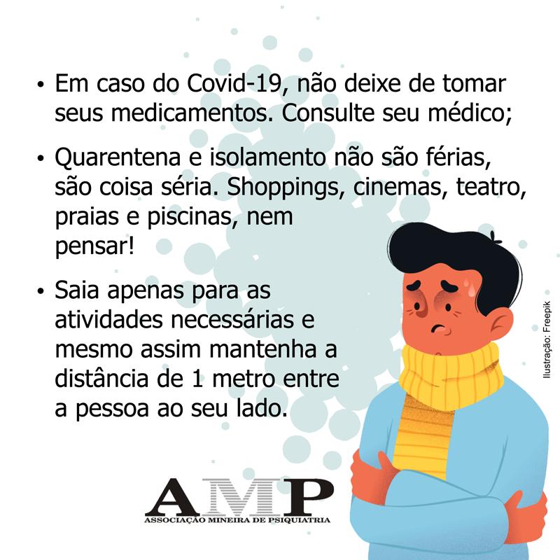 Coronavírus Covid 19 – AMP alerta! A Associação Mineira de Psiquiatria elaborou um documento, baseado nas instruções da OMS  e do Ministério da Saúde, com algumas ações que devem ser seguidas por pacientes psiquiátricos ou não. Não deixe de ler!